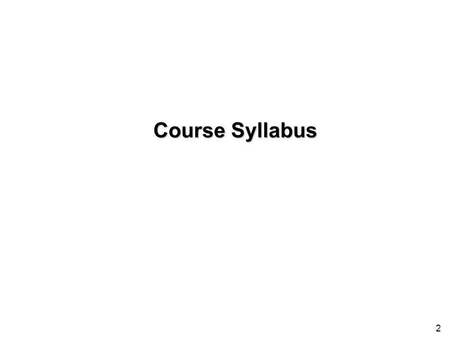 Course Syllabus