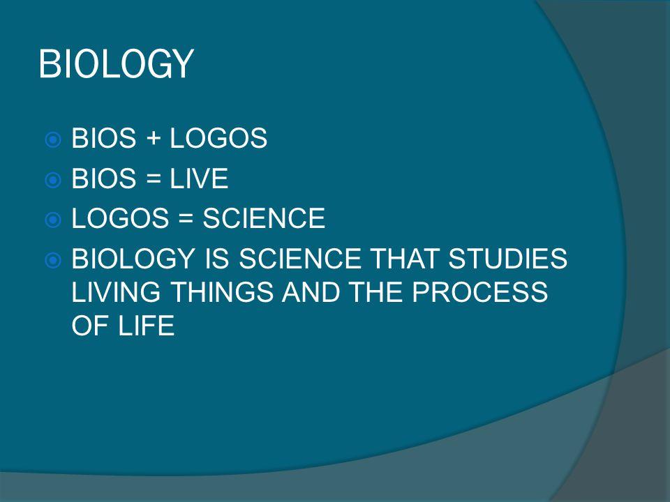 BIOLOGY BIOS + LOGOS BIOS = LIVE LOGOS = SCIENCE