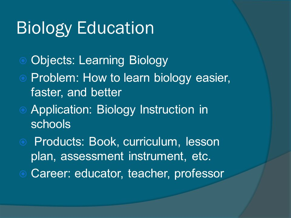 Biology Education Objects: Learning Biology