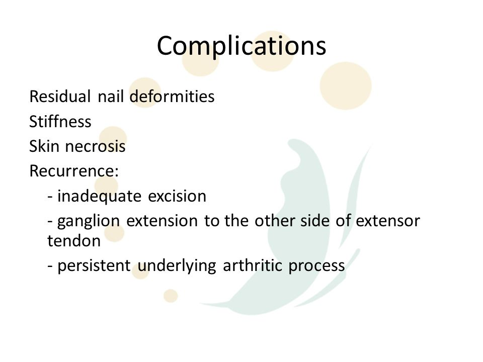 Complications Residual nail deformities Stiffness Skin necrosis
