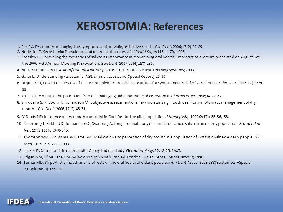 XEROSTOMIA: References