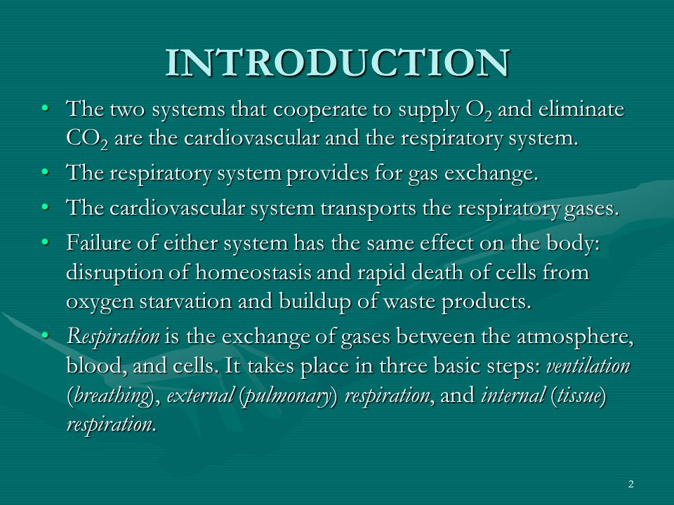 INTRODUCTION The two systems that cooperate to supply O2 and eliminate CO2 are the cardiovascular and the respiratory system.