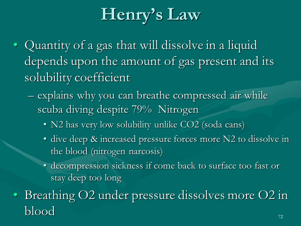 Henry's Law Quantity of a gas that will dissolve in a liquid depends upon the amount of gas present and its solubility coefficient.