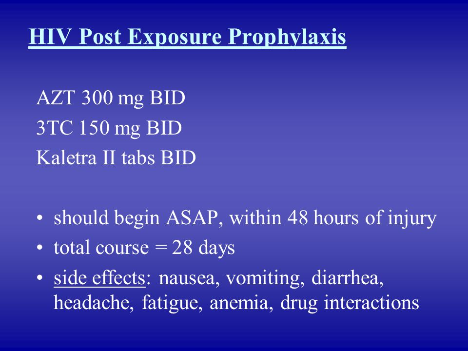 HIV Post Exposure Prophylaxis