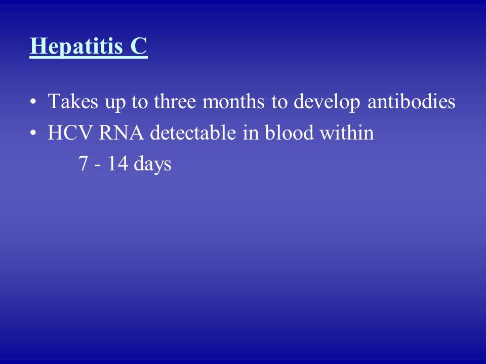 Hepatitis C Takes up to three months to develop antibodies