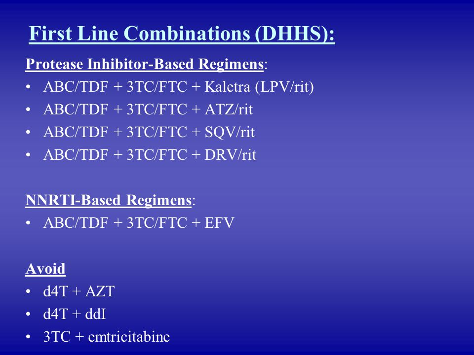 First Line Combinations (DHHS):