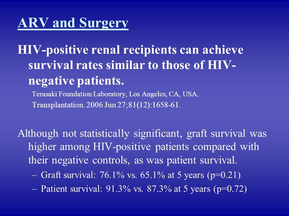 ARV and Surgery HIV-positive renal recipients can achieve survival rates similar to those of HIV-negative patients.