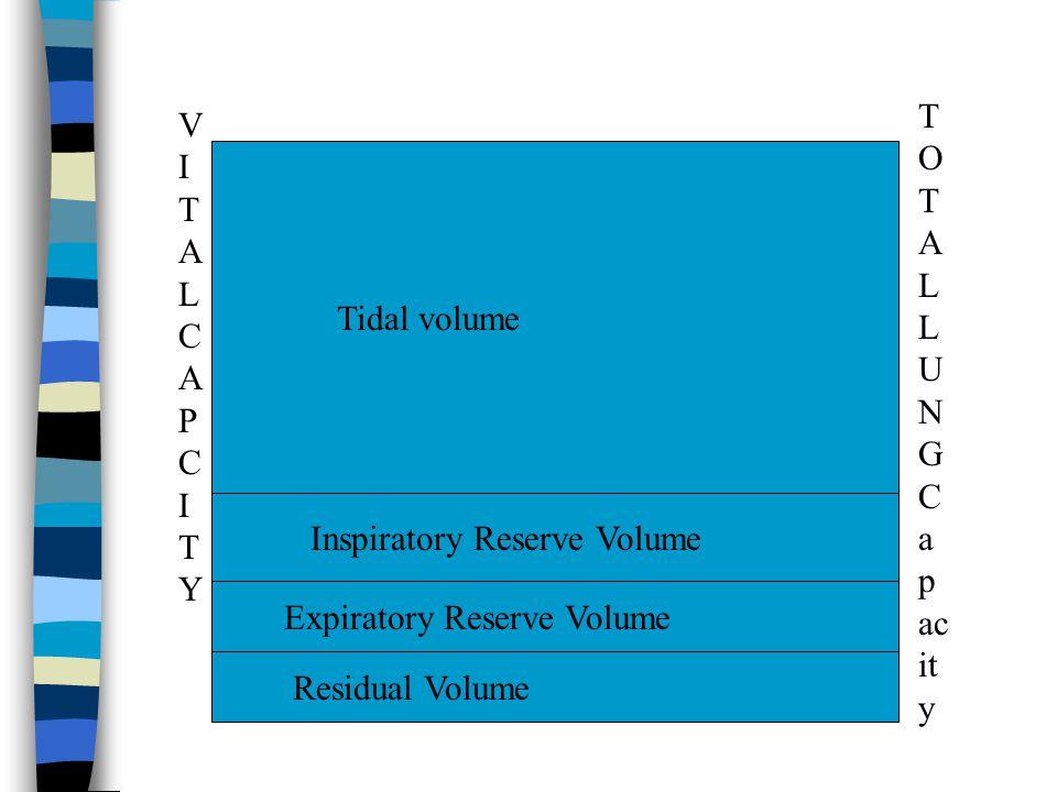 TOTAL LUNG Capacity VITAL CAPCITY. Tidal volume. Inspiratory Reserve Volume. Expiratory Reserve Volume.