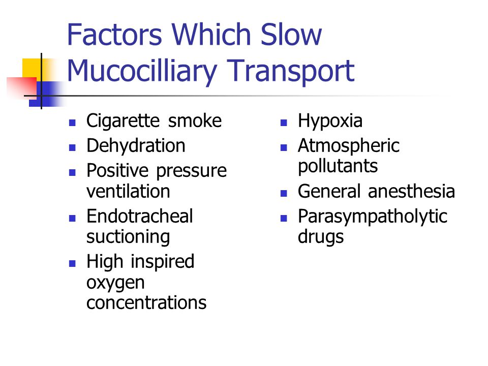 Factors Which Slow Mucocilliary Transport