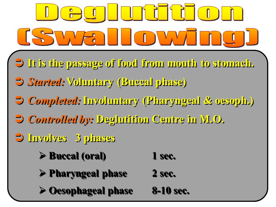 It is the passage of food from mouth to stomach.