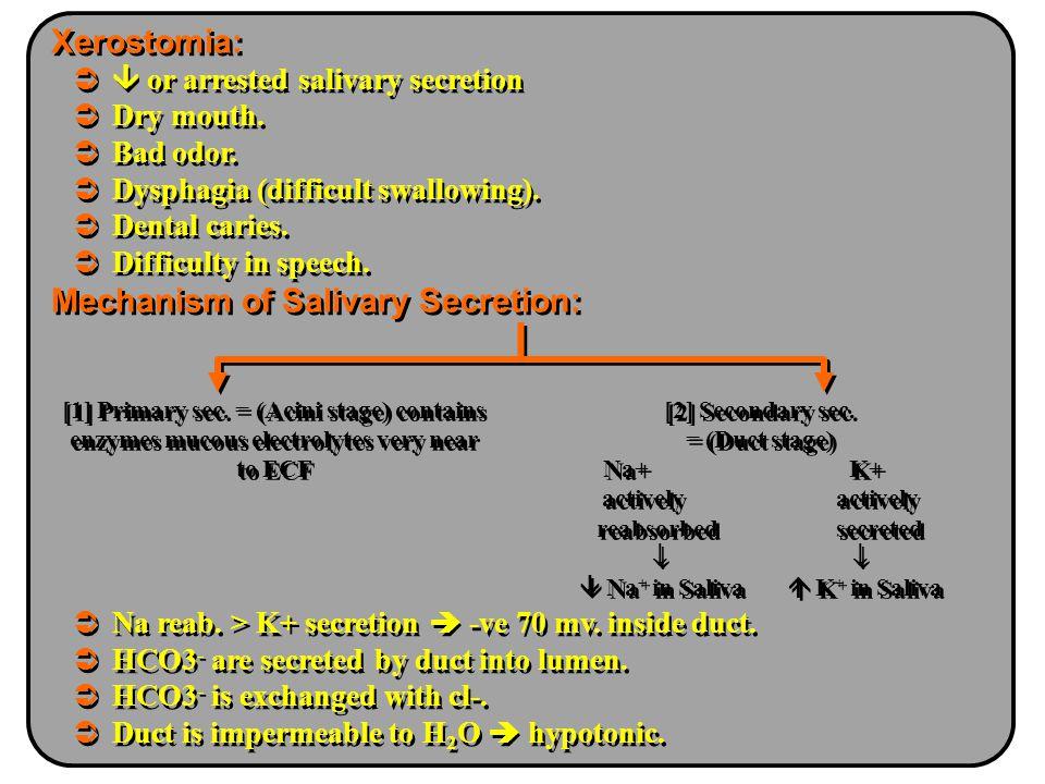 Na+ K+ actively actively  Na+ in Saliva  K+ in Saliva