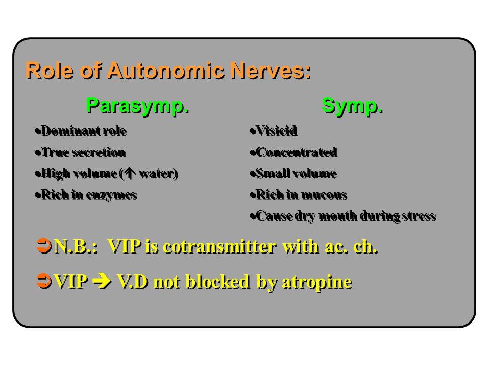 Role of Autonomic Nerves: