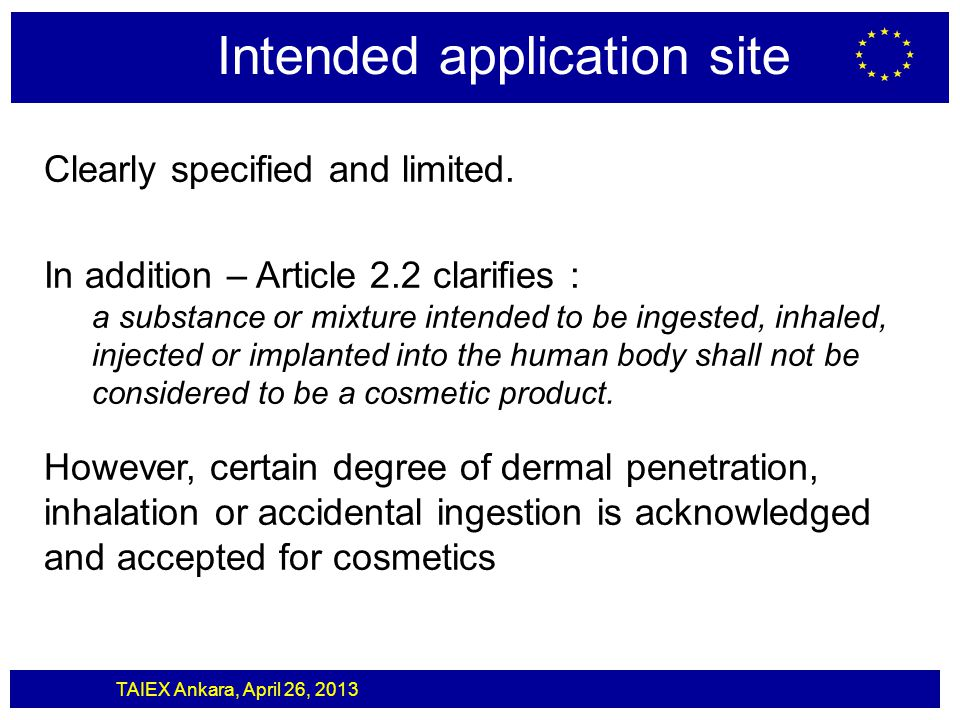 Intended application site