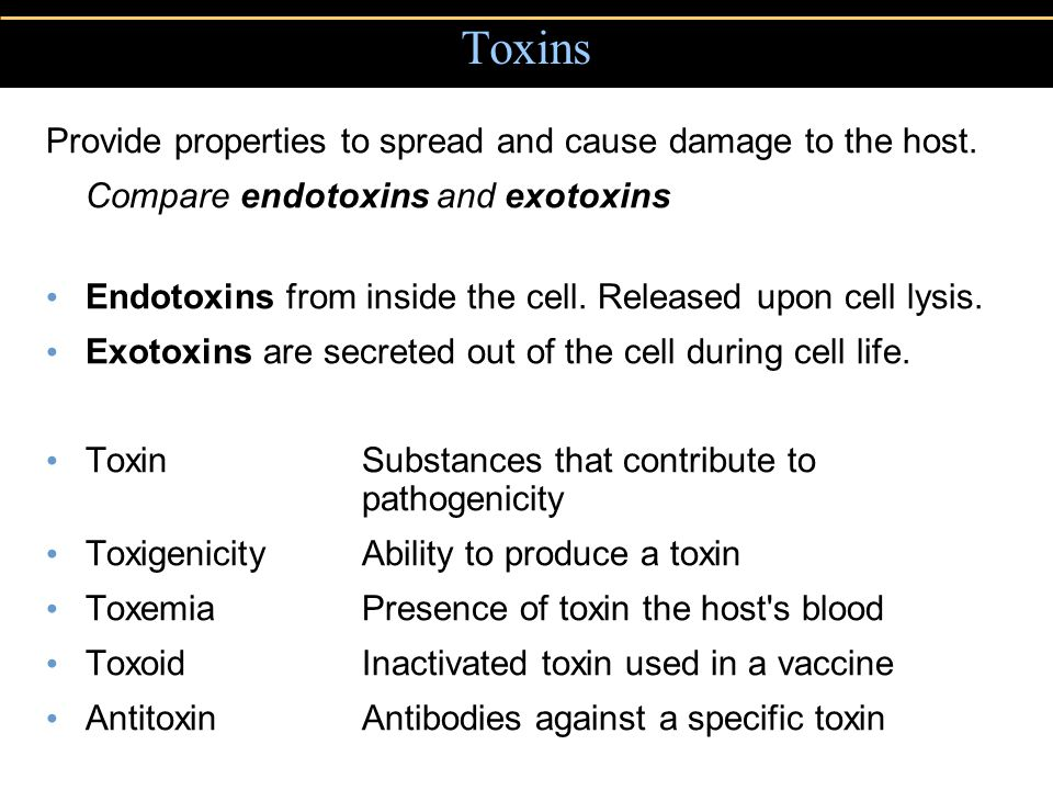 Toxins Provide properties to spread and cause damage to the host.