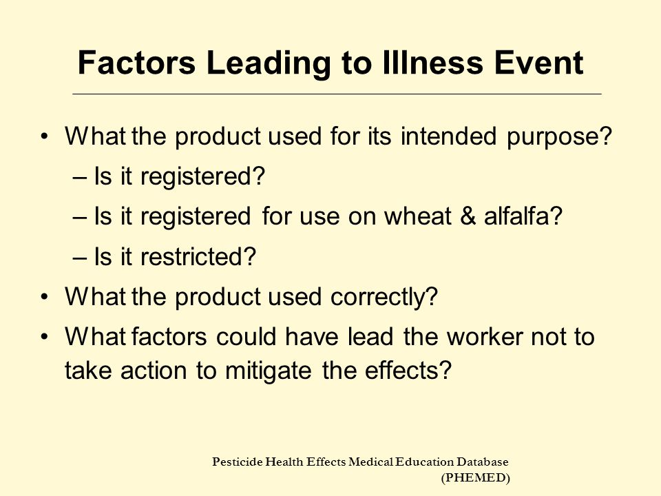 Factors Leading to Illness Event