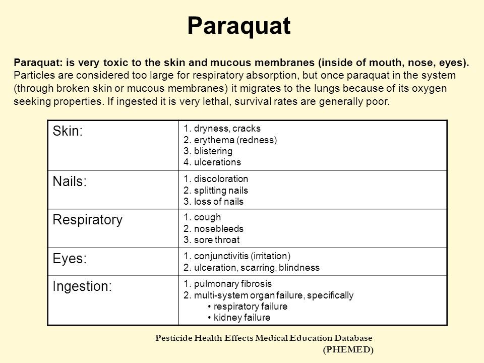 Paraquat Skin: Nails: Respiratory Eyes: Ingestion: