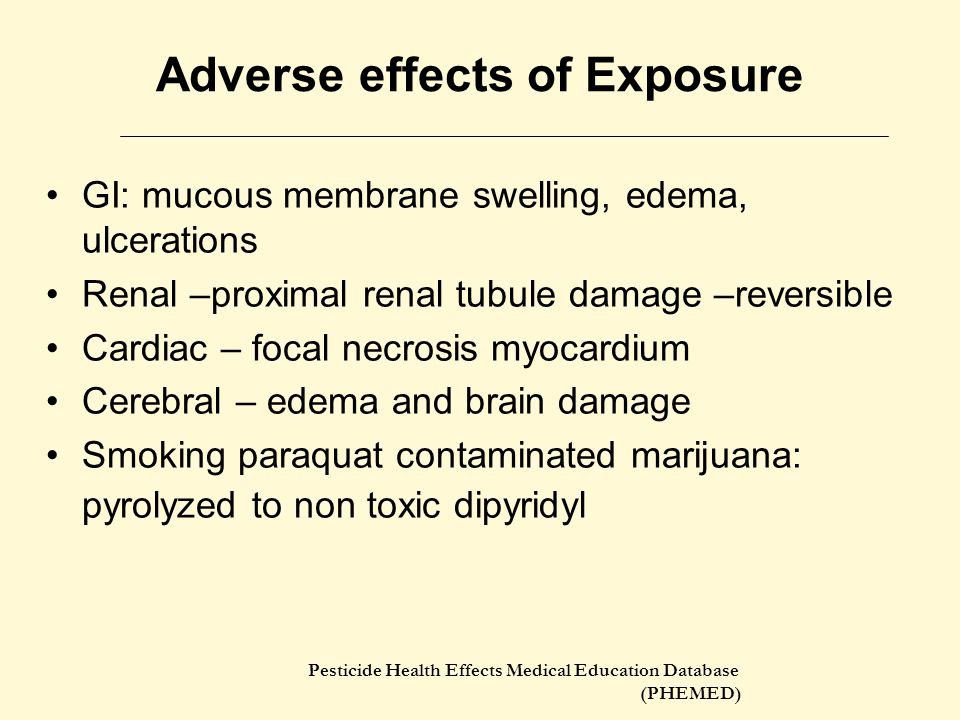Adverse effects of Exposure