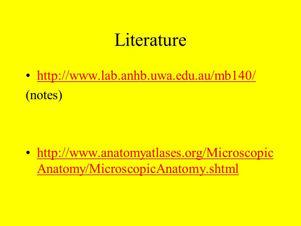 Literature http://www.lab.anhb.uwa.edu.au/mb140/ (notes)