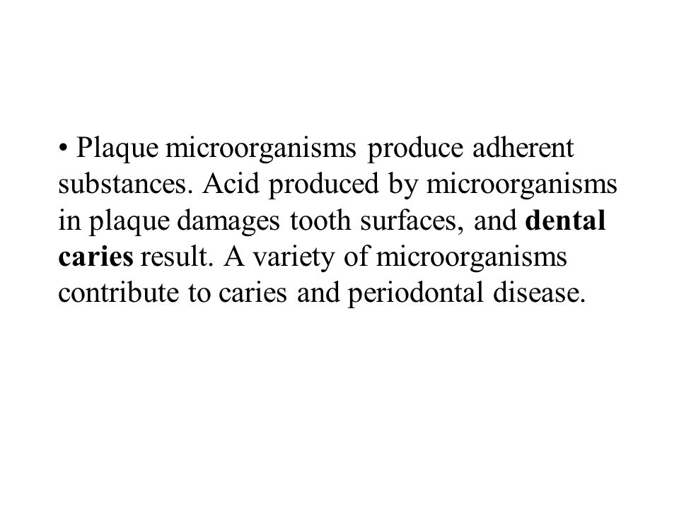 Plaque microorganisms produce adherent substances