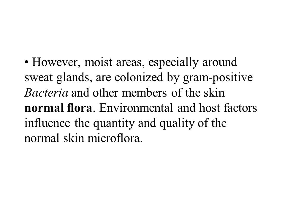 However, moist areas, especially around sweat glands, are colonized by gram-positive Bacteria and other members of the skin normal flora.