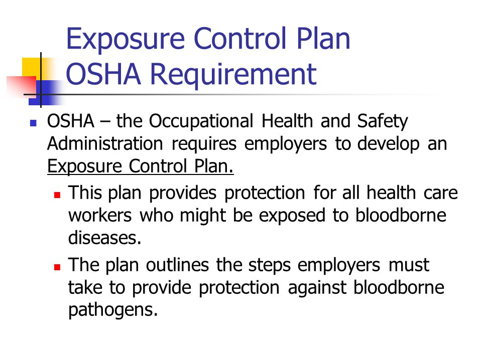 Exposure Control Plan OSHA Requirement