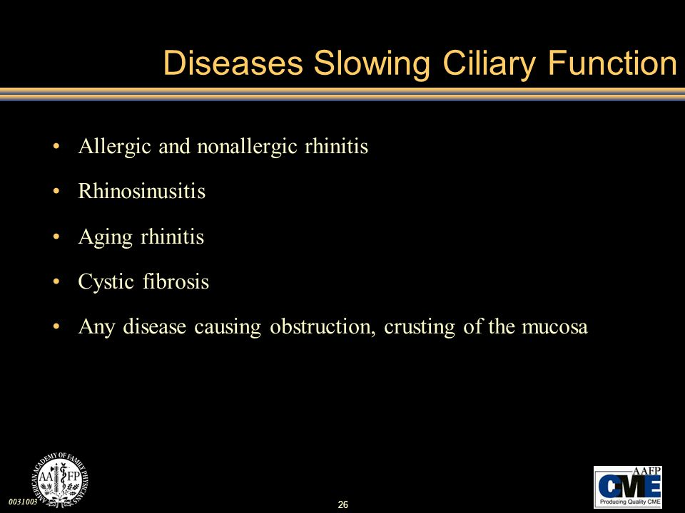 Diseases Slowing Ciliary Function