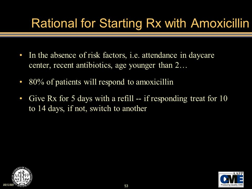Rational for Starting Rx with Amoxicillin