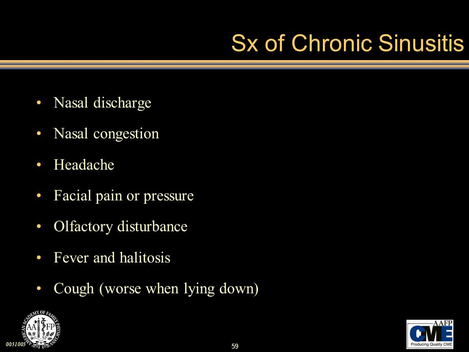 Sx of Chronic Sinusitis