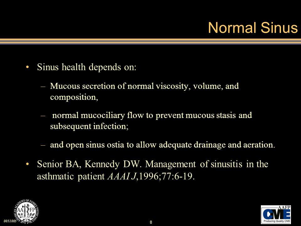 Normal Sinus Sinus health depends on:
