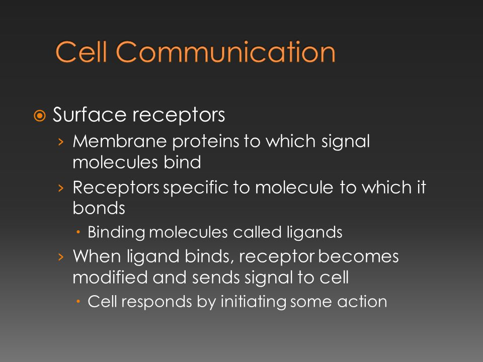 Cell Communication Surface receptors