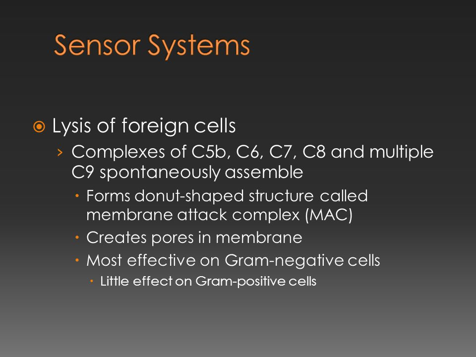 Sensor Systems Lysis of foreign cells