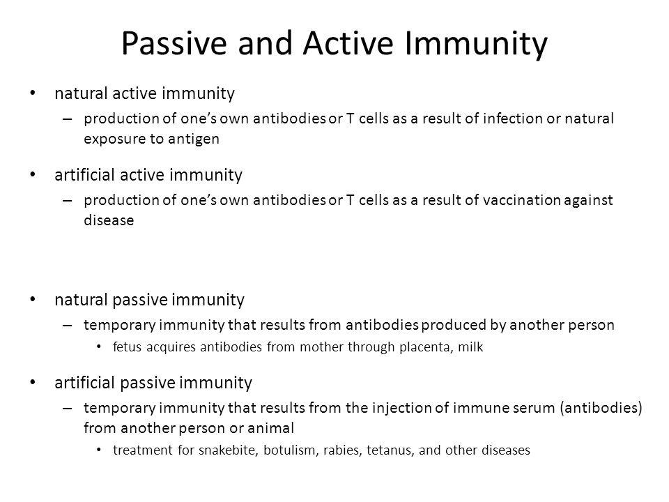 Passive and Active Immunity