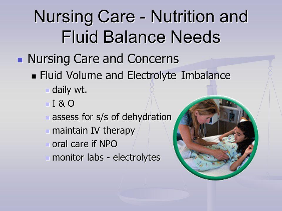 Nursing Care - Nutrition and Fluid Balance Needs