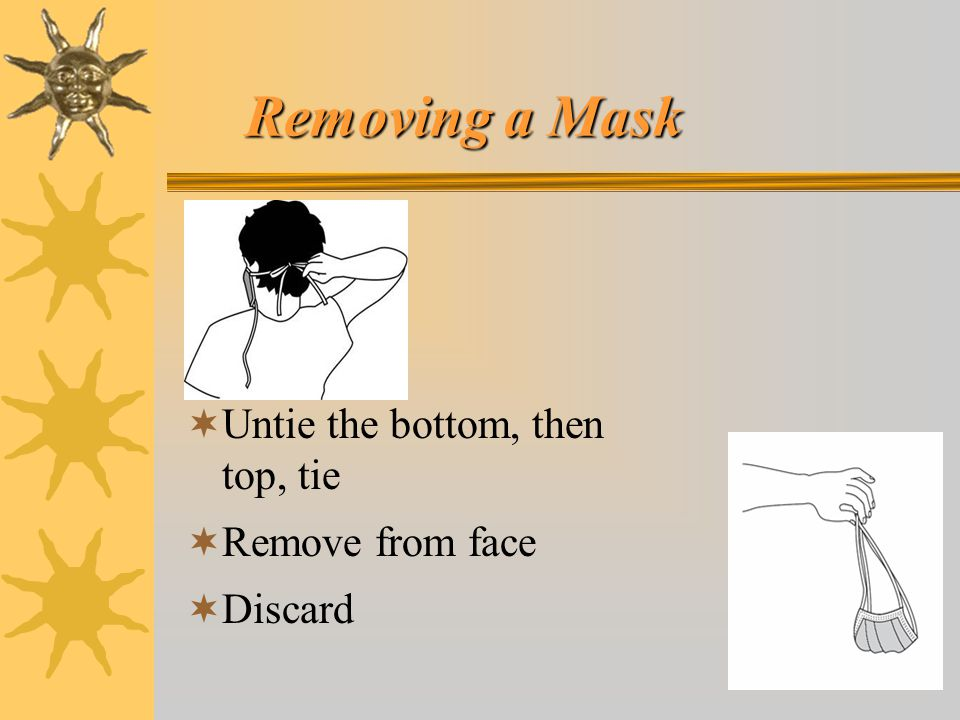 Removing a Mask Untie the bottom, then top, tie Remove from face
