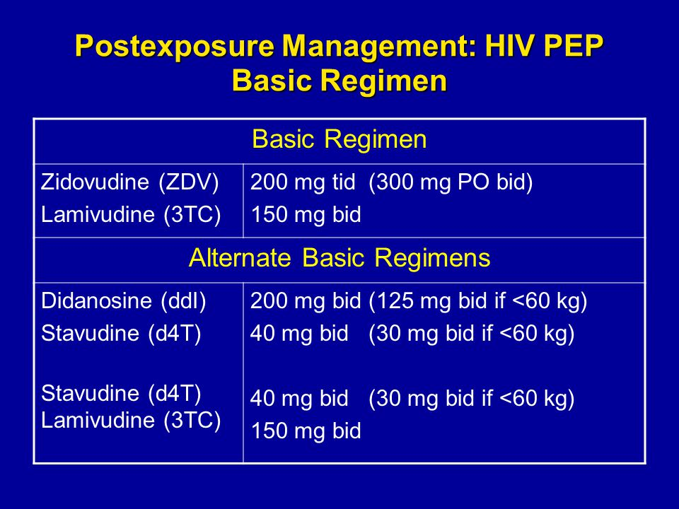 Postexposure Management: HIV PEP Basic Regimen