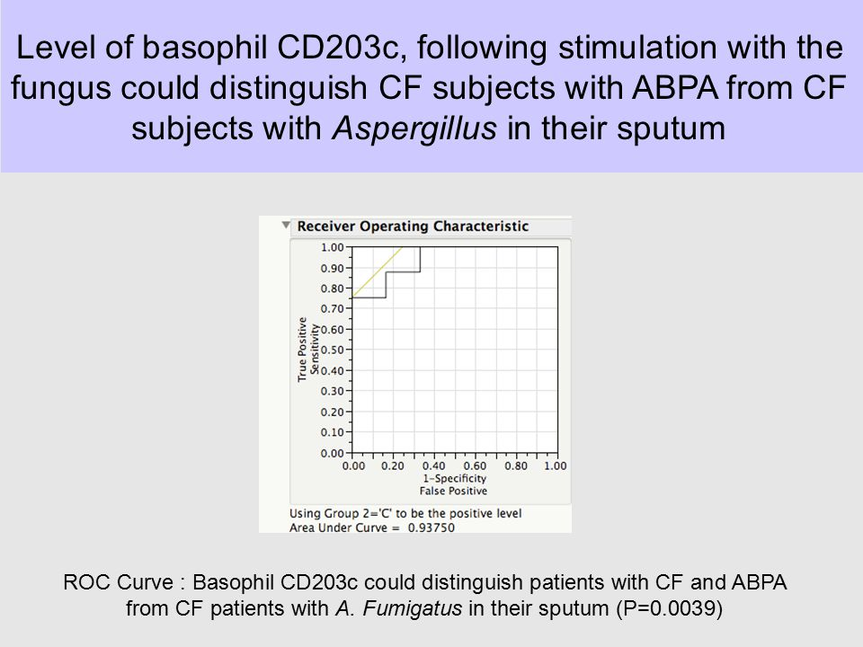 Level of basophil CD203c, following stimulation with the fungus could distinguish CF subjects with ABPA from CF subjects with Aspergillus in their sputum
