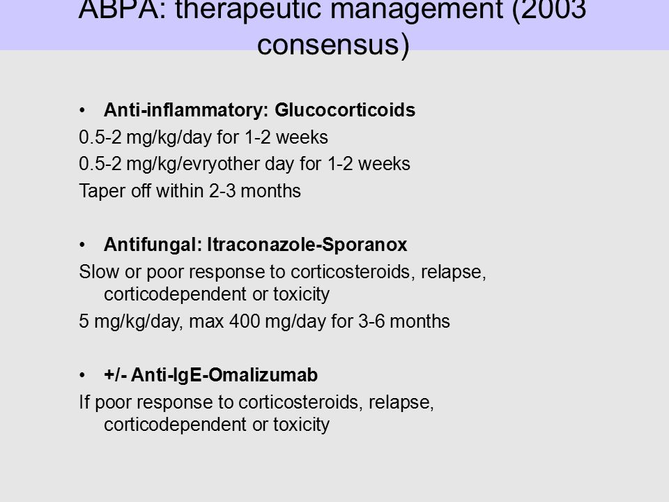 ABPA: therapeutic management (2003 consensus)