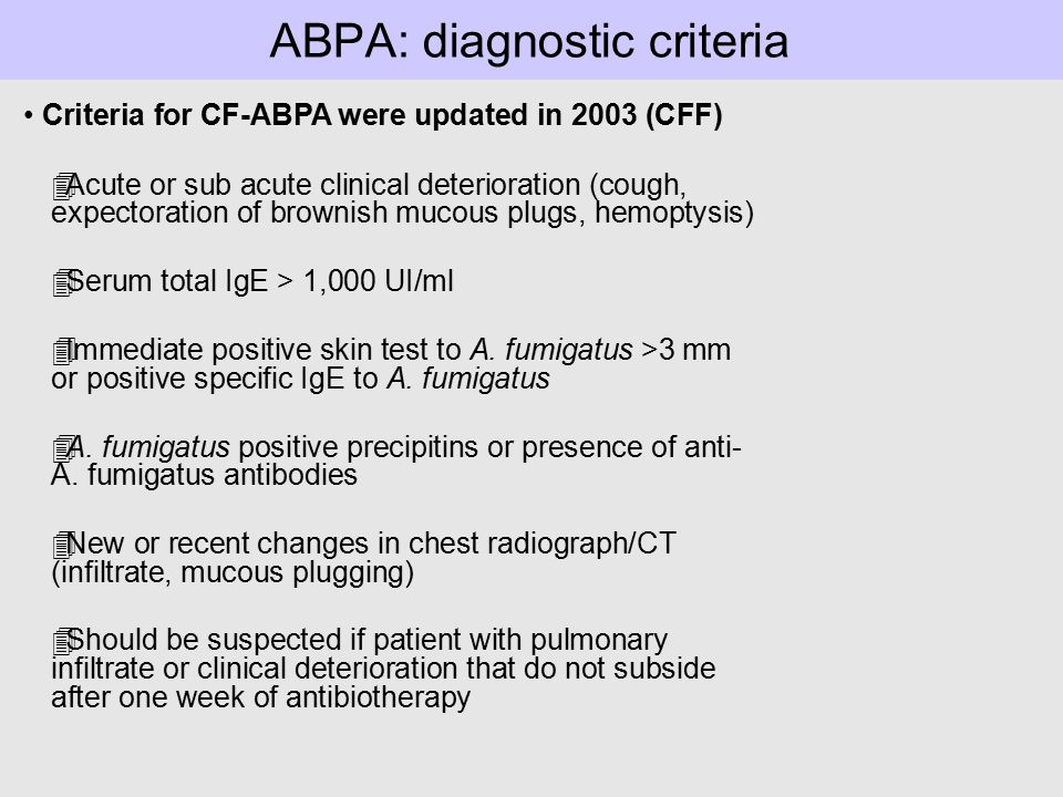 ABPA: diagnostic criteria