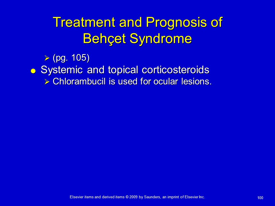 Treatment and Prognosis of Behçet Syndrome