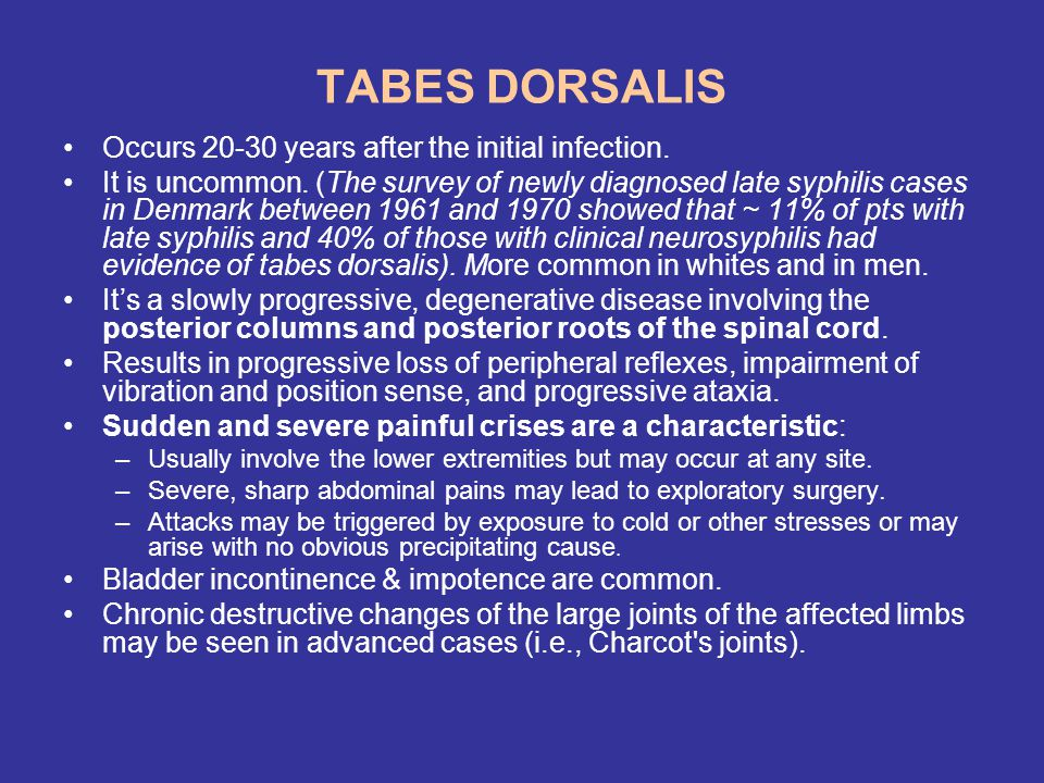 TABES DORSALIS Occurs 20-30 years after the initial infection.