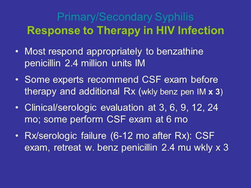 Primary/Secondary Syphilis Response to Therapy in HIV Infection