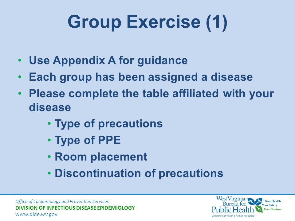 Group Exercise (1) Use Appendix A for guidance