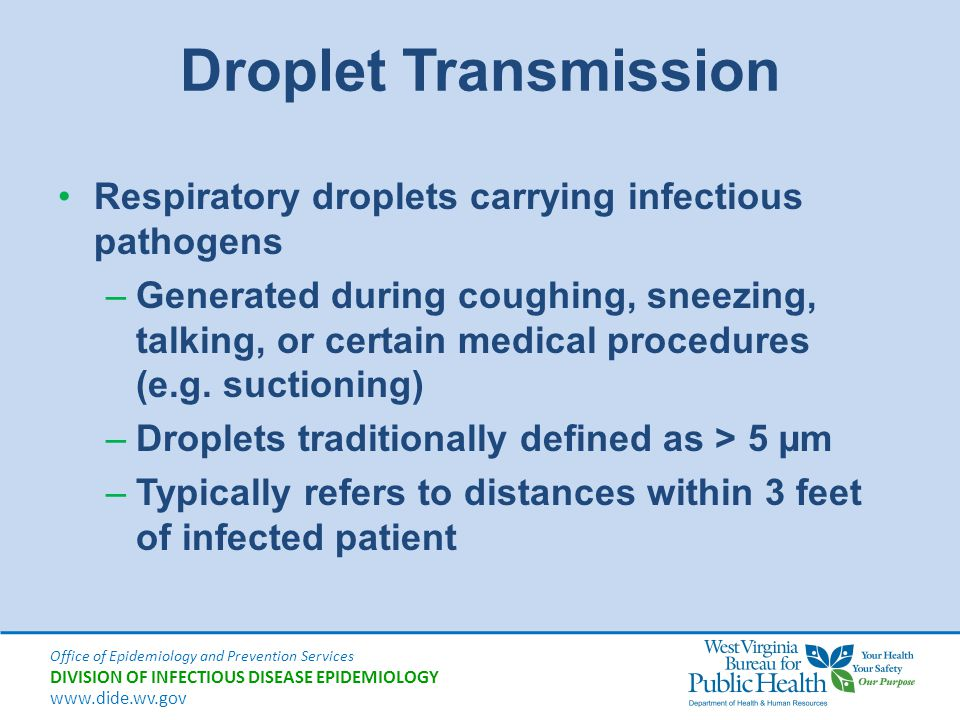 Droplet Transmission Respiratory droplets carrying infectious pathogens.
