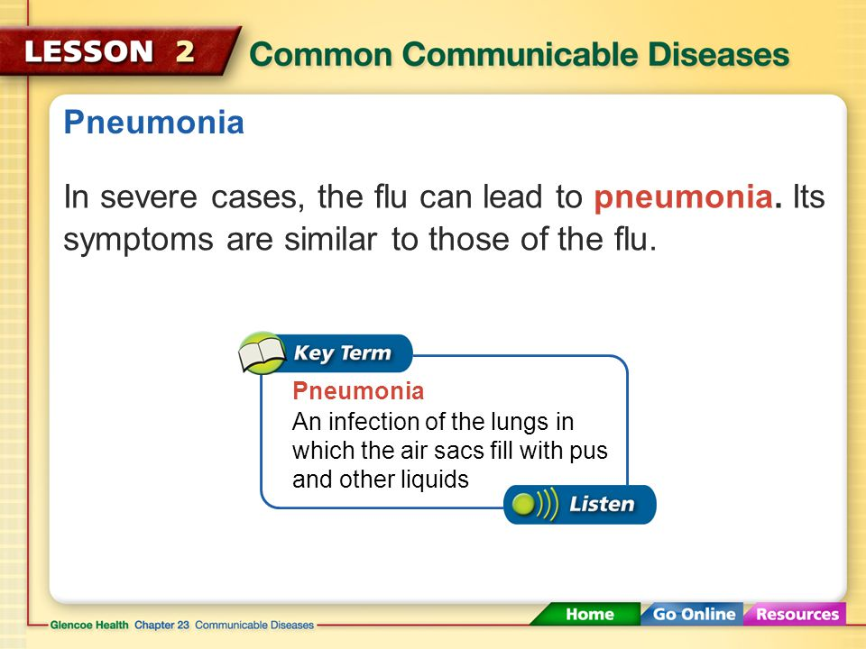 Pneumonia In severe cases, the flu can lead to pneumonia. Its symptoms are similar to those of the flu.