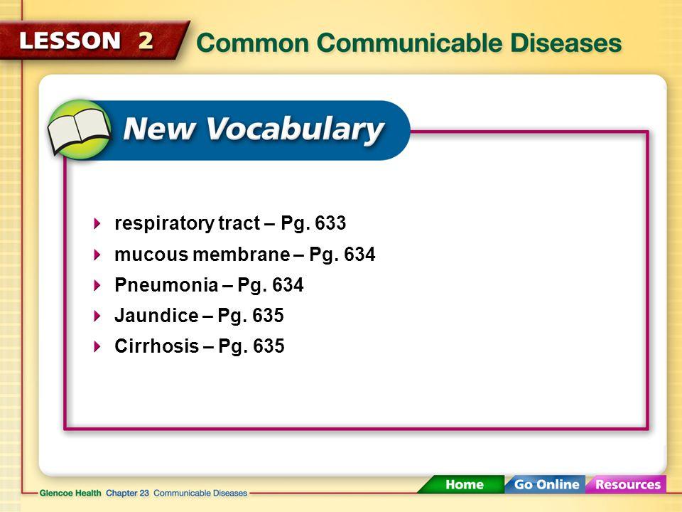 respiratory tract – Pg. 633 mucous membrane – Pg.