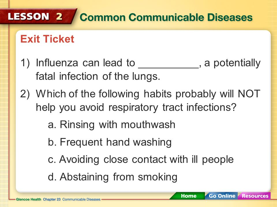 Exit Ticket Influenza can lead to __________, a potentially fatal infection of the lungs.