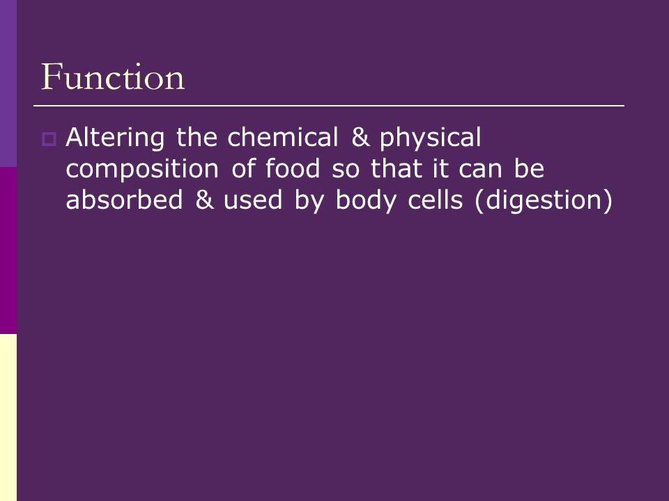 Function Altering the chemical & physical composition of food so that it can be absorbed & used by body cells (digestion)