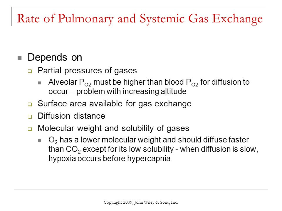 Rate of Pulmonary and Systemic Gas Exchange