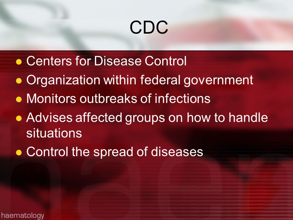 CDC Centers for Disease Control Organization within federal government