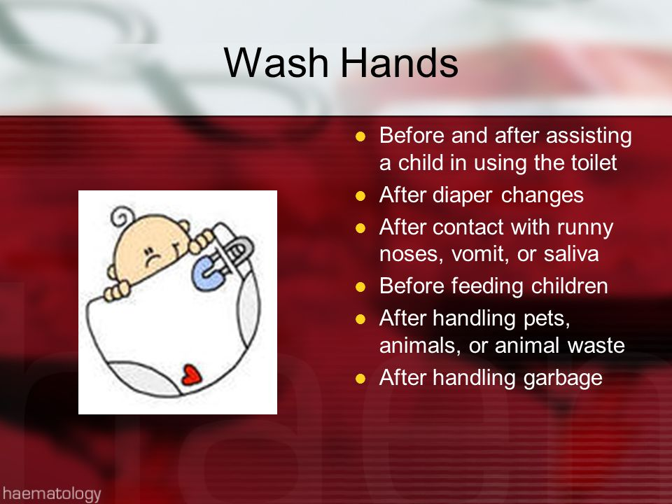 Wash Hands Before and after assisting a child in using the toilet